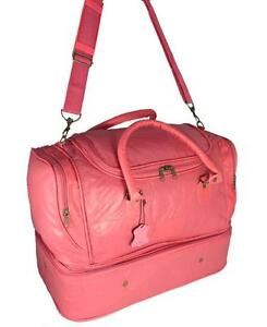 Image Is Loading LADIES WOMENS LEATHER GYM BAG BAGS HOLDALL