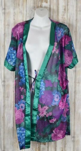 Feather Bed Intimate Purple Sheer Floral Robe Sz L