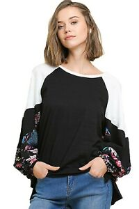 Umgee-Women-039-s-Spring-Cotton-Top-with-Floral-Print-Puff-Sleeves