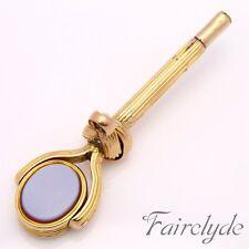 Mejor Calidad Antiguo Oro 9ct sello Fob Watch Clave Colgante Giratorio En Caja De Regalo