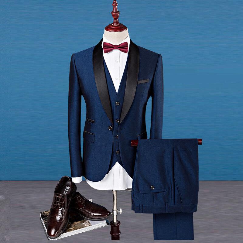 2 Colors Luxury Wedding Dress Formal Prom Suits Men Tuxedo Suit Slim ...