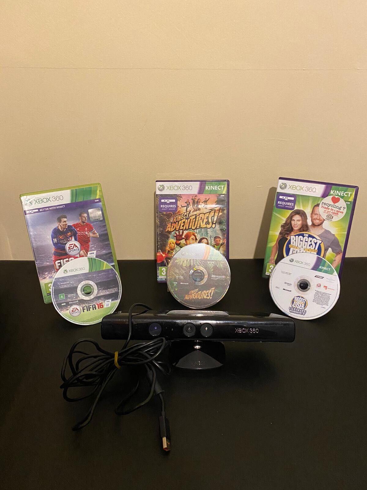 Xbox 360 Kinect Sensor + 3 Games Bundle/ Job lot Tested And Working