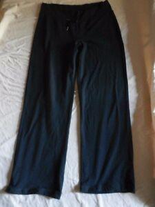 Lululemon-Athletica-8-Black-Pants-Wide-Leg-Drawstring-Zipper-Pocket-Oval-Gusset
