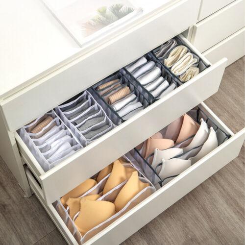 3pcs Foldable Drawer Organizer Divider Closet Storage Box For Underwear Bra