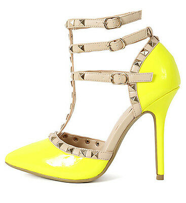 Womens Gladiator Pointy Studded High Heel Pumps Stiletto Neon Patent PU-Leather
