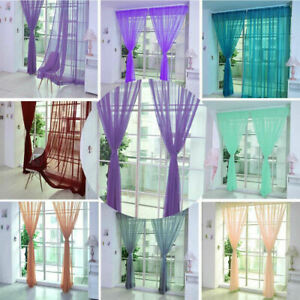 Voile-Curtains-Pair-2-Panels-Valances-Tulle-Window-Door-Sheer-Scarf-Divider