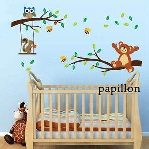 Cute Teddy Bear Squirrel Owl Bee Tree Nursery Kid Baby Wall Sticker