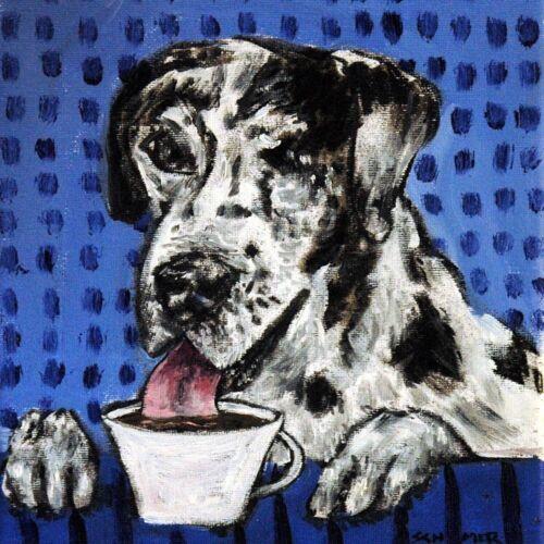 great dane coffee dog art tile coaster gift JSCHMETZ