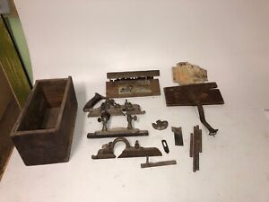 Antique-Stanley-Plane-No-45-With-25-Plus-Cutter-Blades-Box-And-Extra-Parts