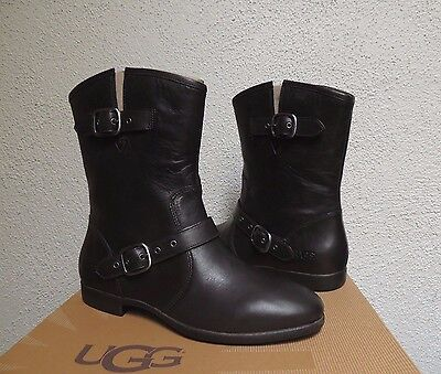UGG FRANCES BLACK 2-TONE LEATHER / SHEARLING BUCKLE BOOTS, US 6.5/ EUR 37.5 ~NIB