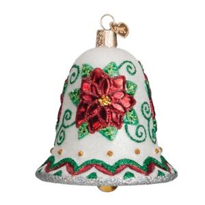 Old-World-Christmas-POINSETTIA-BELL-38041-N-Glass-Ornament-w-OWC-Box