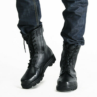Mens PU Leather Military Boots Army Boots Tactical Lace Up Combat Boots  Gothic   eBay