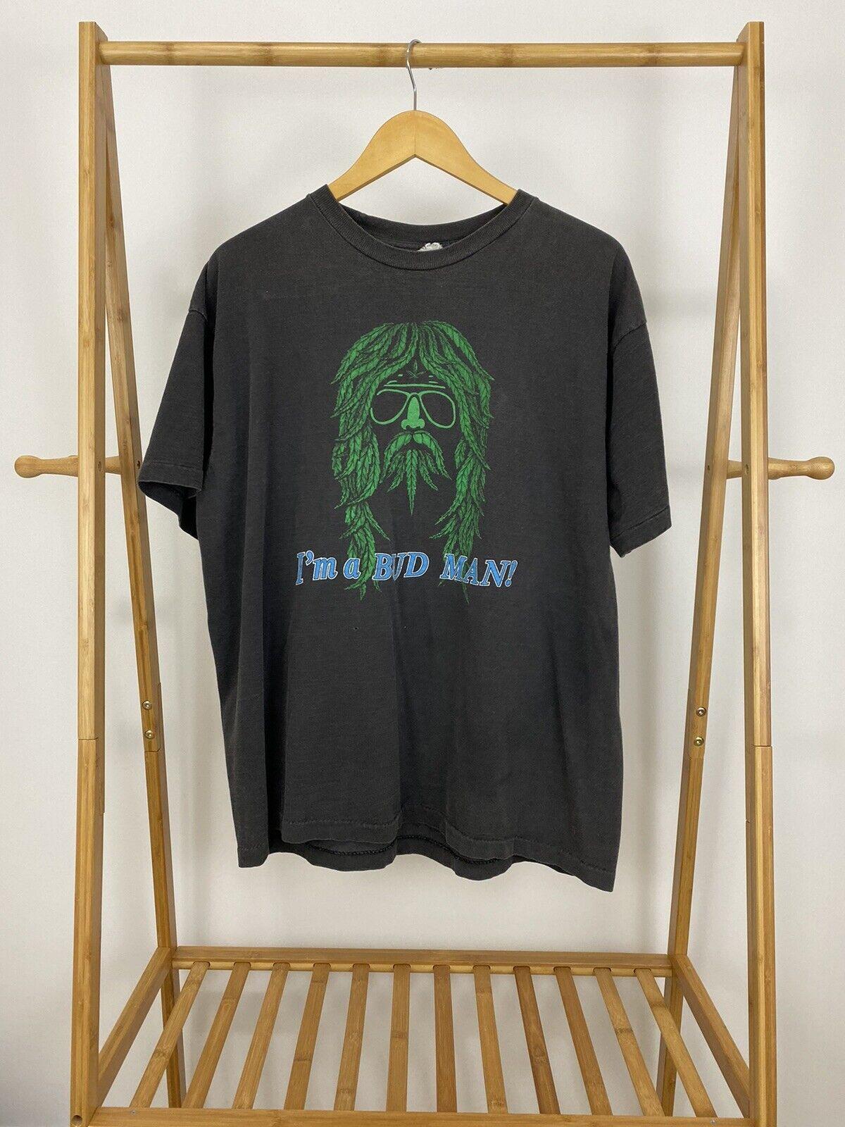 RARE VTG 90s I'm A Bud Man Marijuana Black Short Sleeve T-Shirt Size XL