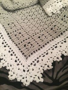 Crochet Sweet Dreams Baby Blanket Afghan White And A Hint Of Pink Help a Puppy!