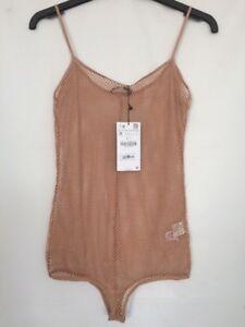 78edcb2a1d6a4 Ladies Mesh Body Bodice Vest Top Small Orange Pink Peach From Zara ...
