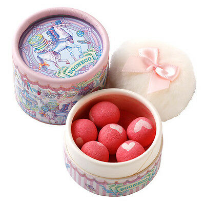 ECONECO☆Japan-Heart Ball Cheek-Blush Candy Pink with Puff.