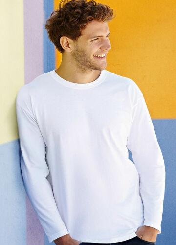 S-2XL Fruit of the Loom Super Premium Long Sleeve 100/% Cotton T Shirt
