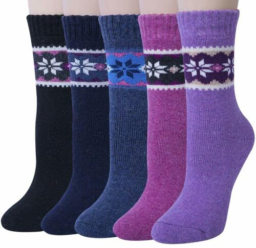 Womens 5 Pairs Winter Warm Vintage Style Thick Knit Wool Cozy Crew Socks