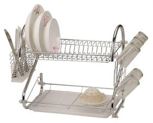 2-TWO-LAYER-TIER-CHROME-SILVER-METAL-DISH-PLATE-GLASS-DRAINER-DRAINING-RACK