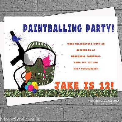 envs H1137 Paintballing Birthday Party Invites Paintball Kids Mens Boys  x 12