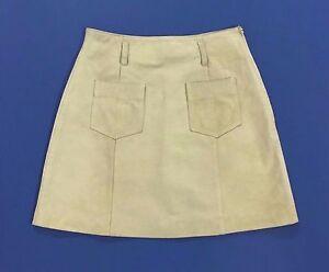 Max-co-max-mara-minigonna-40-42-vera-pelle-beige-usata-mini-high-waist-hot-T1184