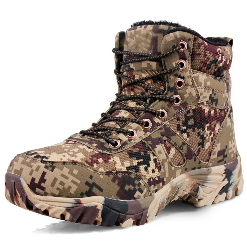 Mens Camo Fur Lined Hiking Climbing Ankle Boots Military Tactical Outdoor shoes