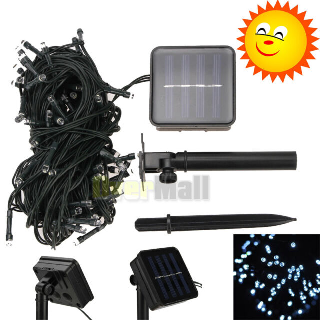 New 100 LED White Solar Power String Fairy Light Outdoor Garden Lawn Xmas Party