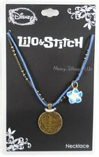 New Disney Lilo & Stitch With Hibiscus Flower Charm Pendant Necklace Cord Chain