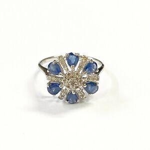 750-18K-White-Gold-Blue-Sapphire-Diamond-Flower-Ring-2-15-Grams-HK-Size-8-5