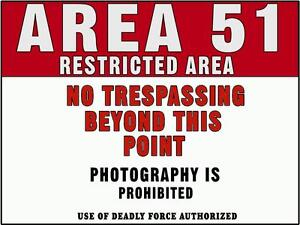 WARNING Area 51 Dorm Room Decor laptop car bumper sticker Decal college prank