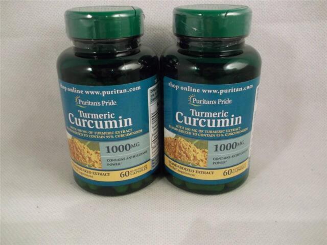 2 Puritan's Pride Turmeric Curcumin 1000 mg 120 Capsules TT Black Pepper Extract