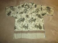 Fieldmaster Button Up Hawaiian Floral Print Shirt Sz L Aloha Vacation Beach