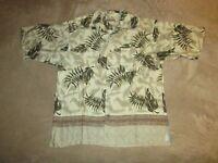 Fieldmaster Button Up Hawaiian Floral Print Shirt Sz L Aloha Vacation Beach