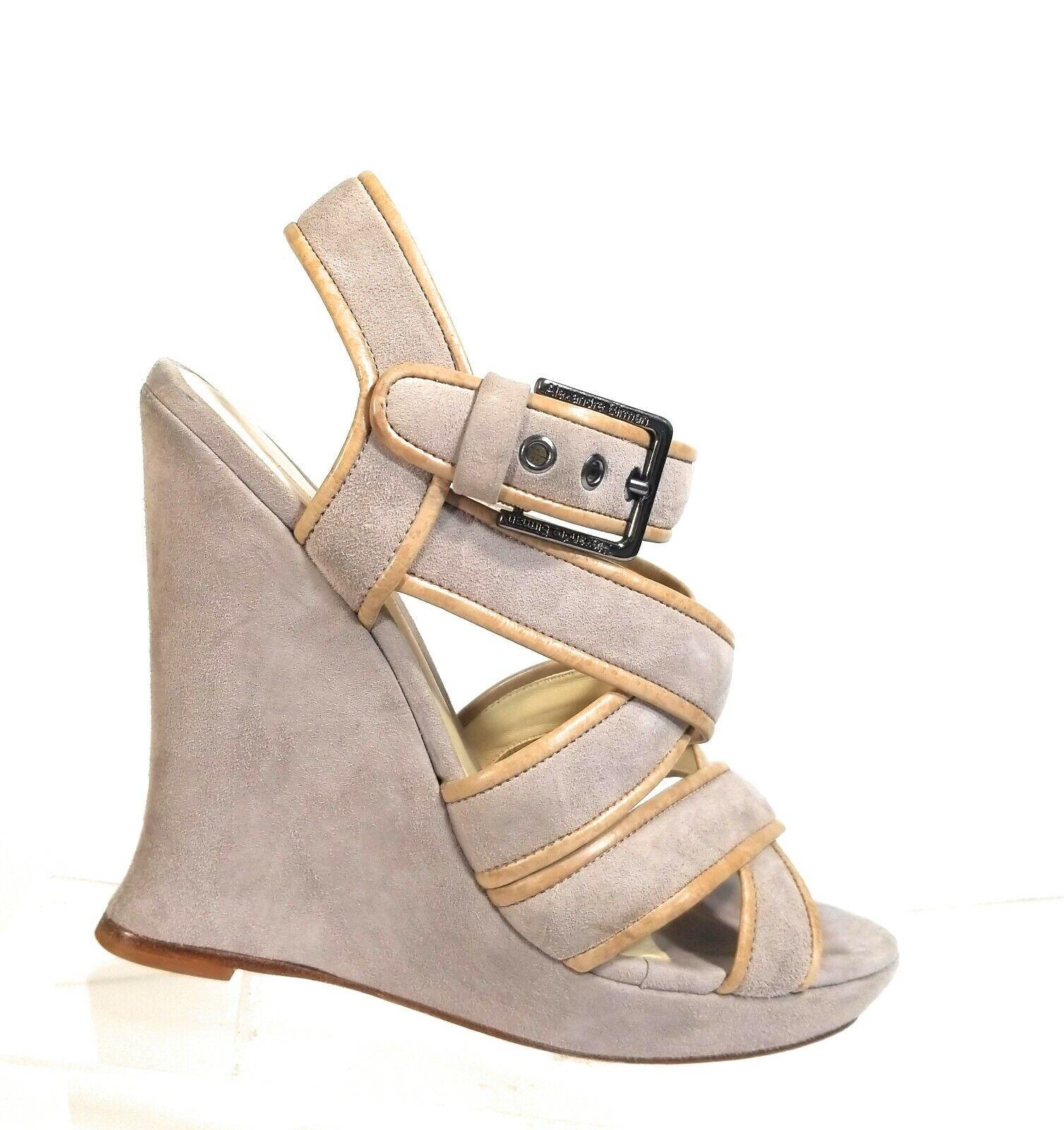 Alexandre Birman Women's Shoes Tan Gray Platform Pumps Wedges Strap Sandals Sz 9