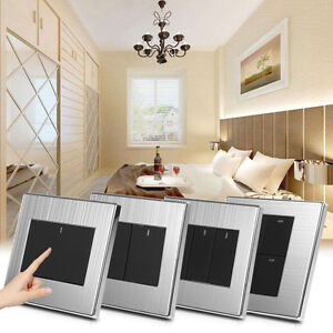 1-2-3-4-Gang-1-2-Way-250V-10A-LED-Wall-Light-Control-Switch-Panel-Push-Buttons-L