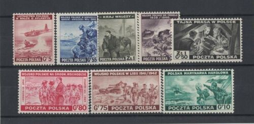 1943 Poland Exile Issue SG 48693 muh set of eight