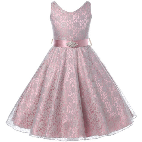 DUSTY ROSE Lace Flower Girl Dress Dance Wedding Party Birthday Gown Recital Prom