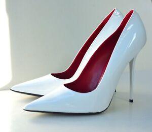 White patent leather stiletto heels