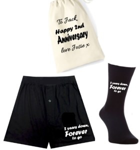 Mens boxers//socks /& bag set-2 years down forever to go 2nd anniversary cotton