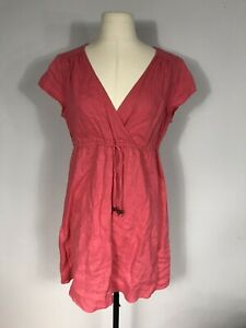 Boden Dark Pink Elastic Tie Waist Short Sleeve Linen Dress Women's 12