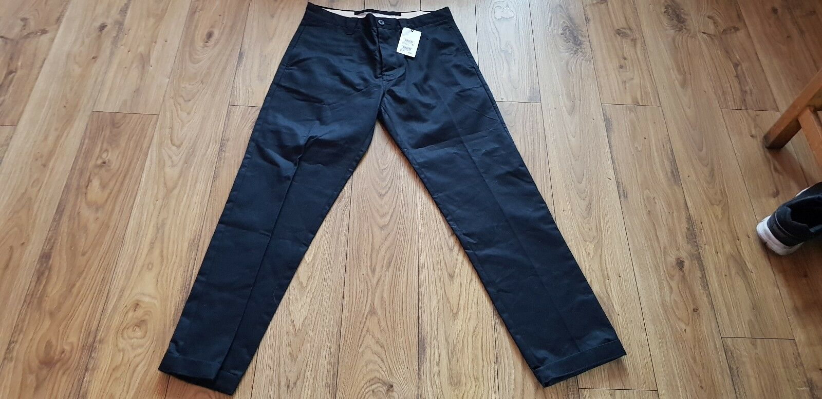 Homme Next Crafted Coupe Droite Noir Pantalon Taille 32 RRP L BNWT RRP 32 30.00 cdee4f