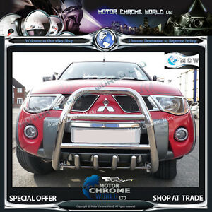 FITS-MITS-L200-CHROME-BULL-BAR-FOR-VEHICLES-WITH-BUMPER-ATTACHMENT-2006-2015