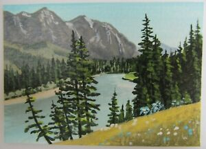 ACEO-Original-Acrylic-Painting-Landscape-The-River-Below-by-Artist-Joan-Hutson