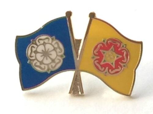 Yorkshire /& Lancashire Rose Flags Friendship Courtesy Enamel Lapel Pin Badge
