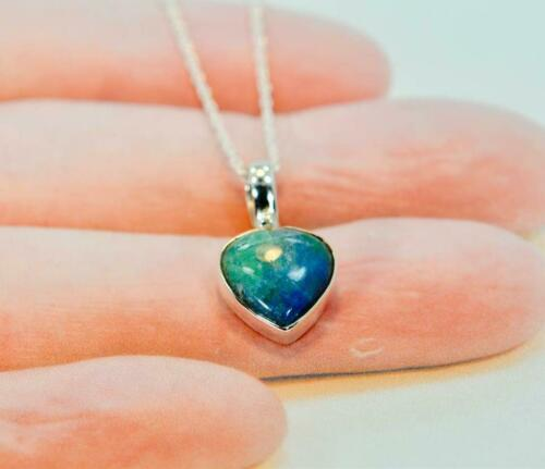 Sterling Silver Heart Shape Rare Chrysocolle Collier Pendentif #BB121 A4127