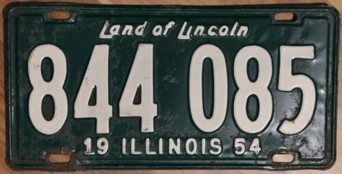 Original VINTAGE Nummernschild License Plate USA Illinois 1954 Plaque Targa