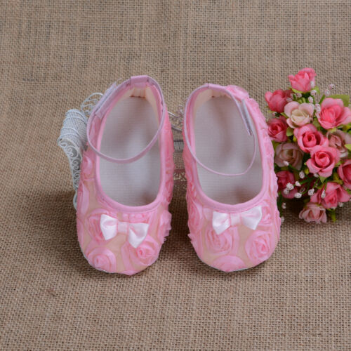 Bébé Filles Chaussures Fleur en Blanc Rose Vif Rouge Pourpre Black 6 9 12 15