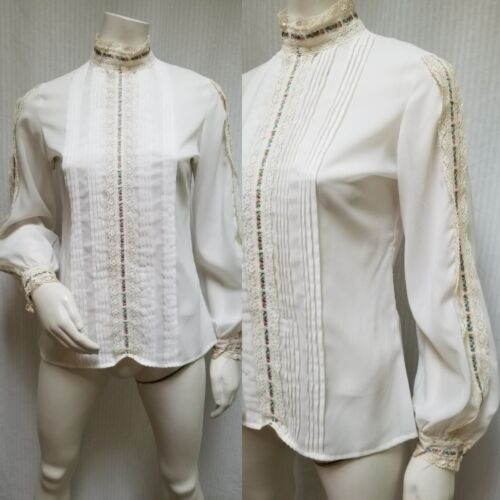Vintage LORD & TAYLOR Ivory Crochet Lace Pleated B