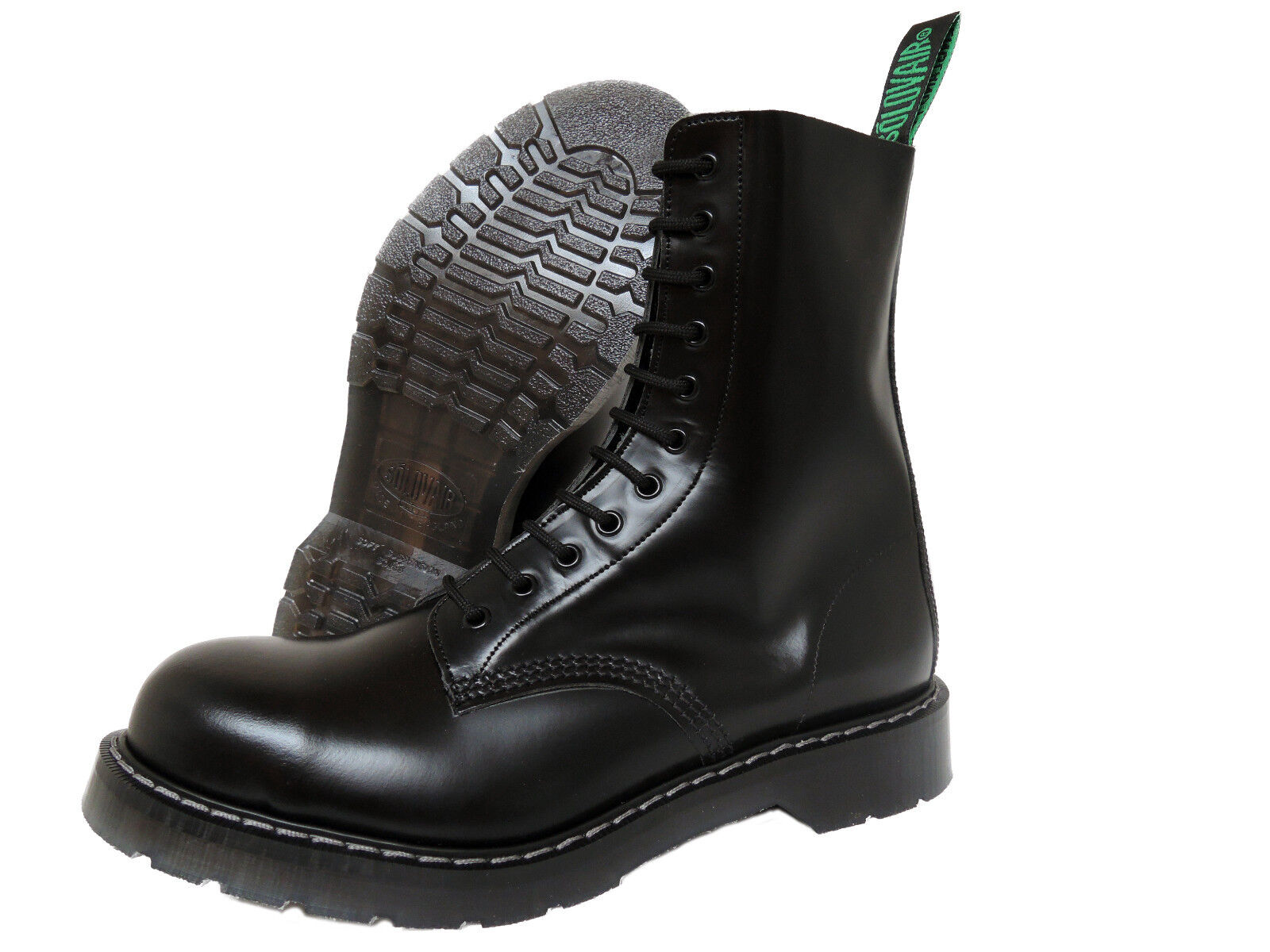Solovair NPS Hand Made Toe in England Black Steel Toe Made Boots Stiefel Schwarz 44e386