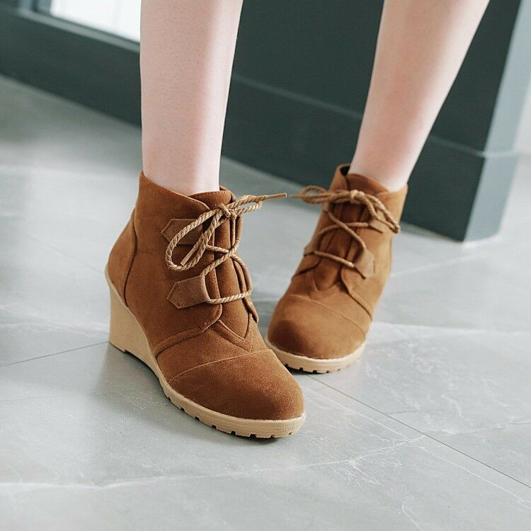 Plus Size New Women Lace Up Ankle Boots Round Toe Wedge Heel shoes Suede Booties